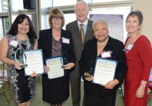 Mayor Antonovich (center) with the Women of the Year Honorees Lillian Knight, Linda Van Der Valk, Juanita DeVaughn, and Commission on Women President Becky Shevlin